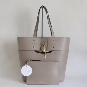 Chloe Aby Leather Tote with Zip Pouch Motty Grey